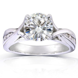 Kobelli Near-Colorless (F-G) Moissanite and Diamond Twist Engagement Ring 1 1/5 CTW 14k White Gold