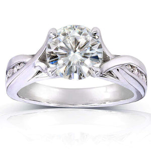 Round-cut Diamond Engagement Ring 1 1/5 CTW in 14k White Gold