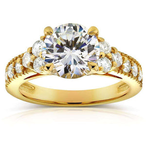Kobelli Art Deco Moissanite Engagement Ring with Diamond 2 3/5 CTW 14k Yellow Gold
