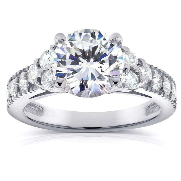 Kobelli Art Deco Moissanite Engagement Ring with Diamond 2 3/5 CTW 14k White Gold