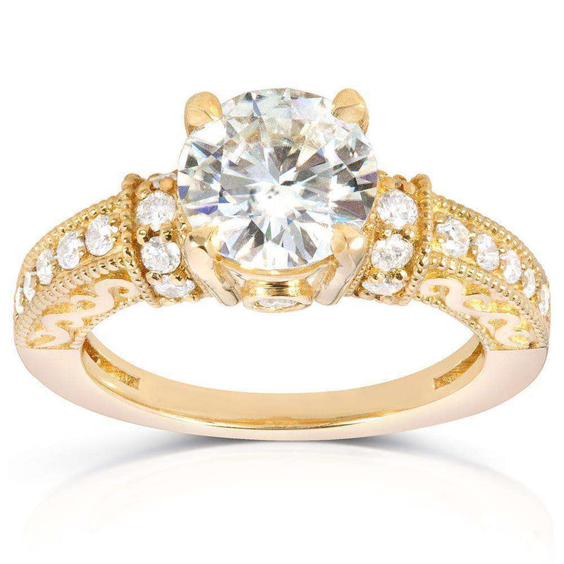 Kobelli Round-cut Moissanite Engagement Ring with Diamond 1 7/8 CTW 14k Yellow Gold