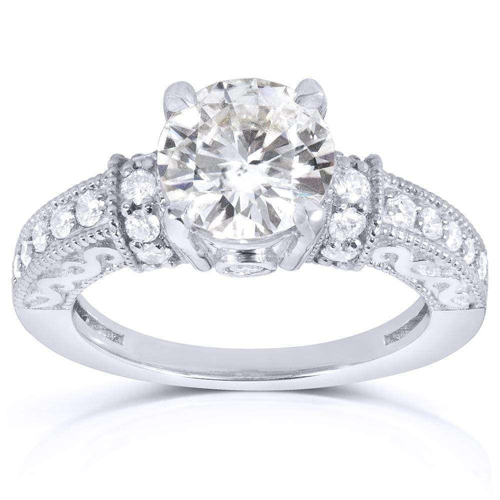 Coupons Round-cut Moissanite Engagement Ring with Diamond 1 7/8 CTW 14k White Gold - 8