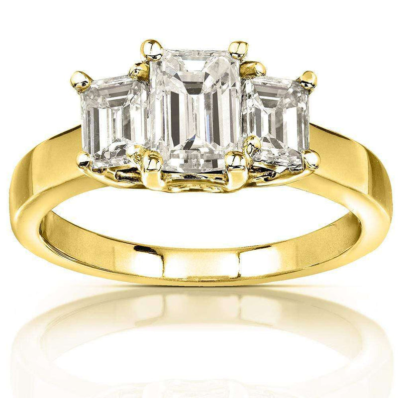 Kobelli Emerald-cut Moissanite Three-stone Engagement Ring 1 5/8 CTW 14k Yellow Gold