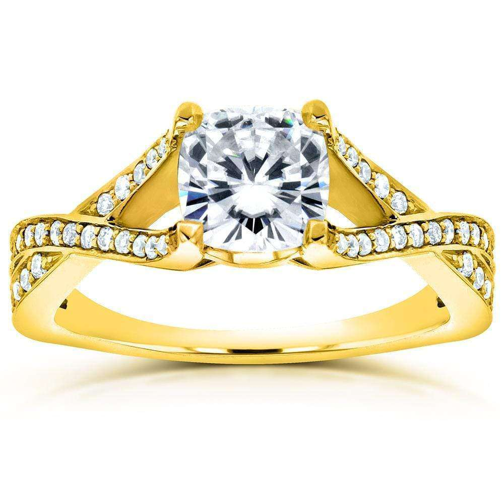 Discounts Art Deco Moissanite and Diamond Twist Engagement Ring 1 1/4 CTW 14k Yellow Gold - 7.5