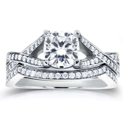 Kobelli Forever One (D-F) Art Deco Moissanite and Diamond Twist Bridal Set 1 2/5 CTW 14k White Gold
