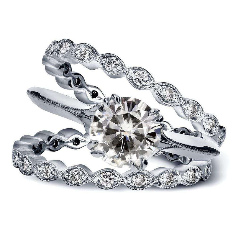 Kobelli Vintage Near-Colorless (F-G) Moissanite Bridal Set with Diamond 1 3/4 CTW 14k White Gold