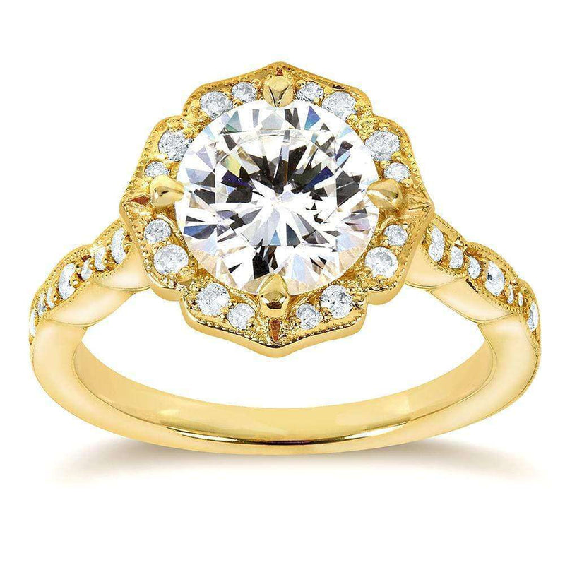 Kobelli Art Deco Floral Moissanite and Diamond Engagement Ring 1 3/4 Carat (ctw) in 14k Yellow Gold