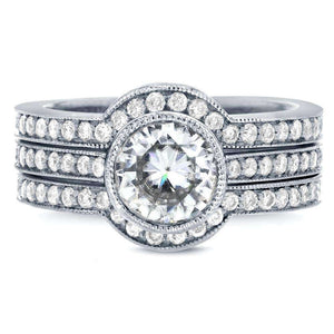 Art Deco Moissanite and Diamond Bezel 3-Piece Bridal Ring Set 1 3/4 CTW 14k White Gold