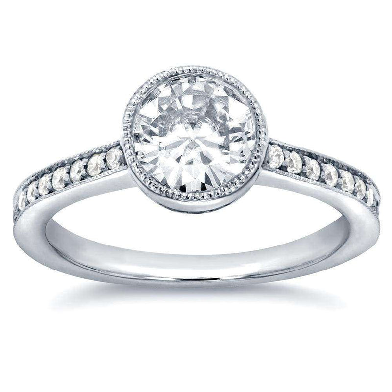 Kobelli Art Deco Diamond Bezel Engagement Ring 1 1/4 CTW in 14k White Gold