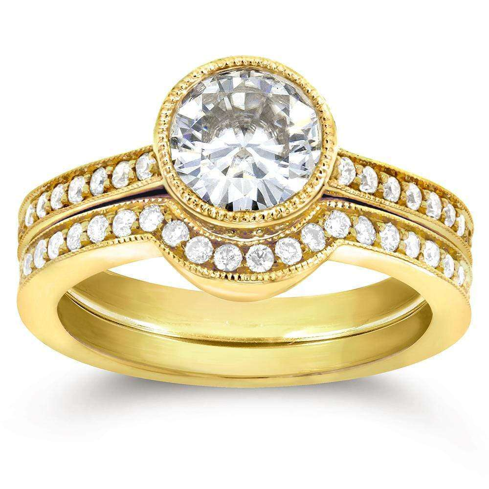 Reviews Art Deco Moissanite and Diamond Bezel Bridal Ring Set 1 1/2 CTW 14k Yellow Gold - 6