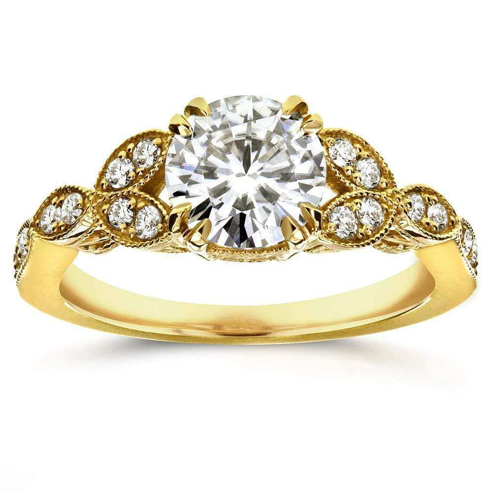 Cheap Antique Round-cut Moissanite Engagement Ring with Diamond 1 1/5 CTW 14k Yellow Gold - 8.5