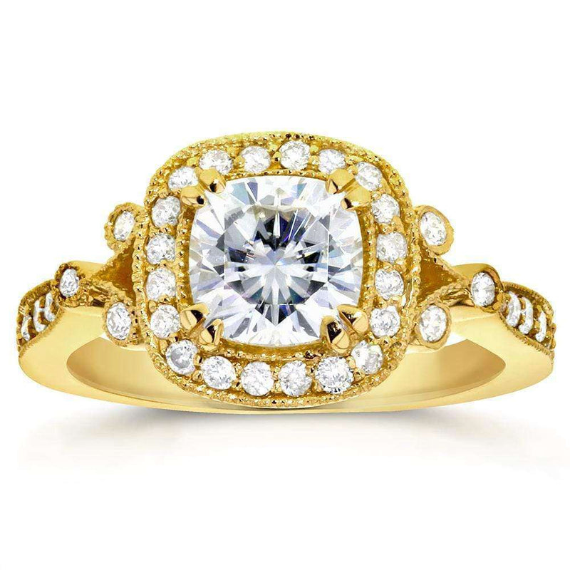 Kobelli Antique Cushion-cut Moissanite Engagement Ring with Halo Diamond 1 3/8 CTW 14k Yellow Gold