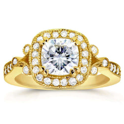 Kobelli Antique Forever One (D-F) Moissanite Engagement Ring with Halo Diamond 1 1/2 CTW 14k Yellow Gold