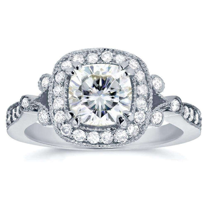 Kobelli Antique Cushion-cut Moissanite Engagement Ring with Halo Diamond 1 3/8 CTW 14k White Gold