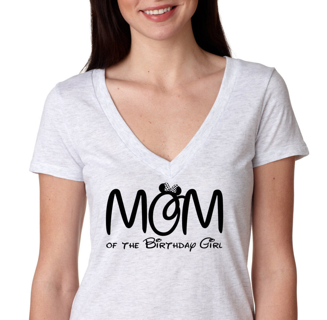 Minnie Mouse MOM Of The Birthday Girl Neck Shirt Mom