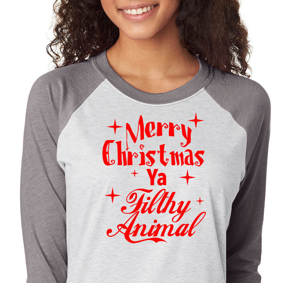 3af5b3cc Merry Christmas Ya Filthy Animal Shirt,Trebled 3/4 Sleeve Raglan Tees, H