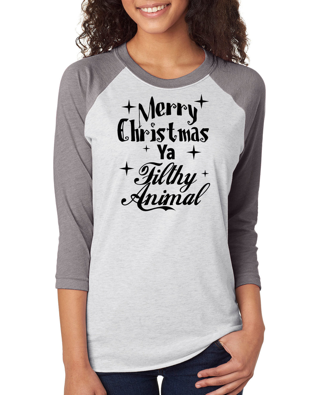 769a43ab ... Merry Christmas Ya Filthy Animal Shirt,Trebled 3/4 Sleeve Raglan Tees,  H ...