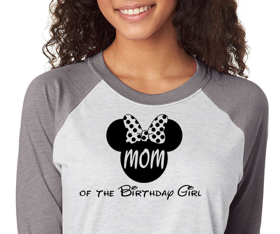Minnie Mouse MOM Of The Birthday Girl ShirtTrebled 3 4 Sleeve Raglan Tees