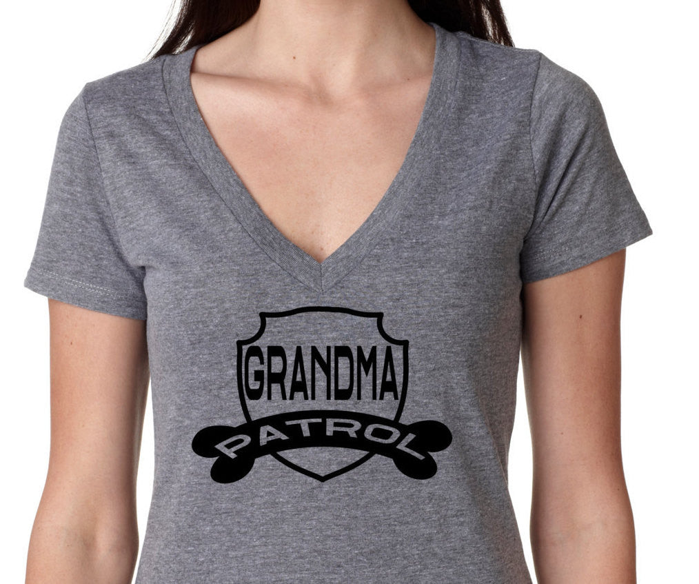 Grandma Patrol V Neck Birthday Shirt Mom Vintage Age
