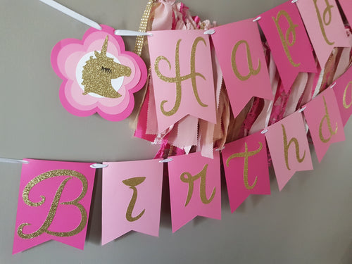 Unicorn Magic Happy Birthday Banner Decoration, Ships in 1-5 days. Unicorn Wall Banner.