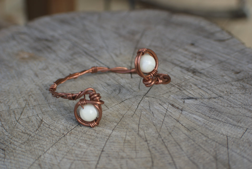 Double Eye White MOP and Twisted Copper Wire Wrapped Cuff ...