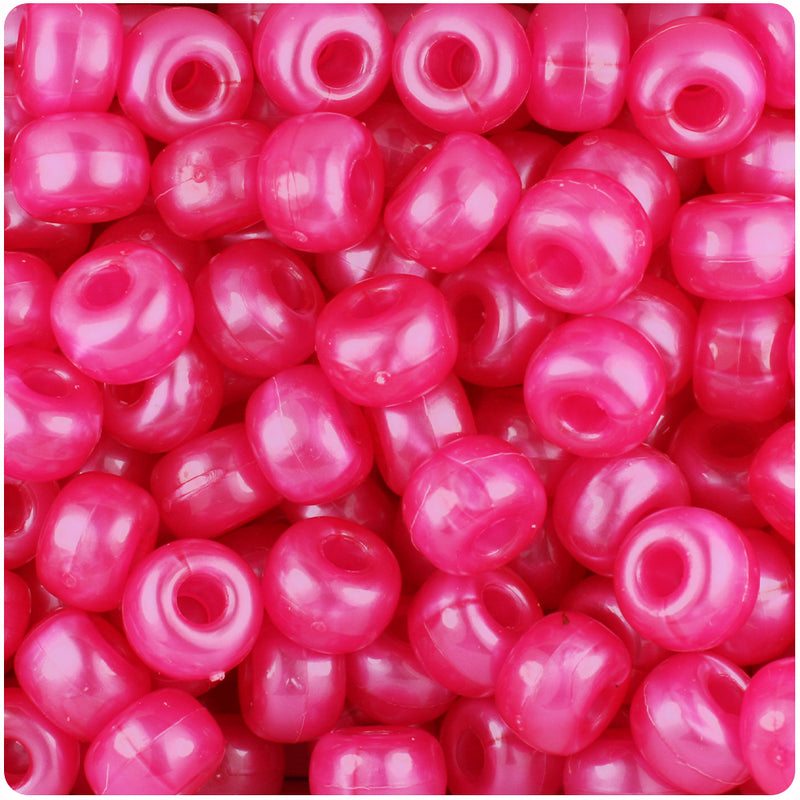 Hot Pink Pearl 11mm Large Barrel Pony Beads (250pcs)