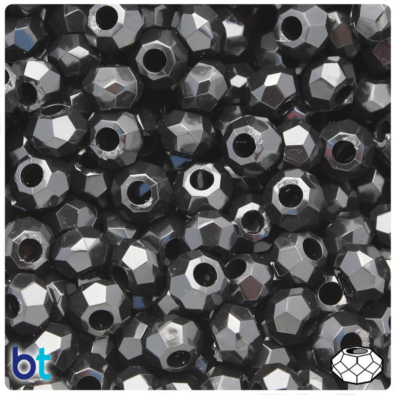 Black Opaque 10mm Squatty Bicone Plastic Beads (30pcs)