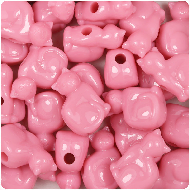 Baby Pink Opaque 23mm Cat Pony Beads (24pcs)