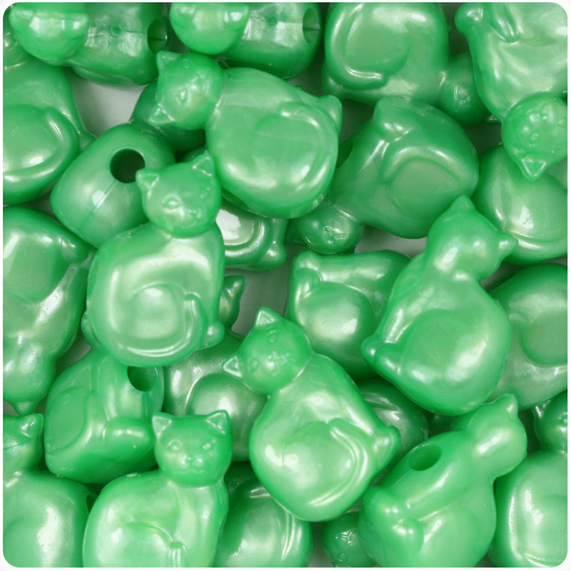 Bright Green Pearl 23mm Cat Pony Beads (24pcs)