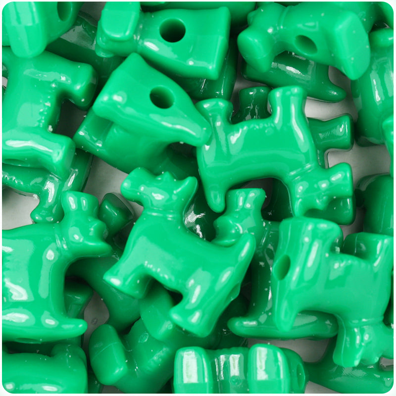 Green Opaque 24mm Scotty Dog Pony Beads (24pcs)
