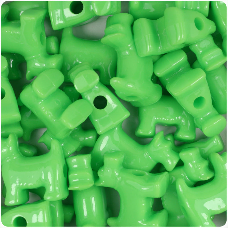 Lime Opaque 24mm Scotty Dog Pony Beads (24pcs)
