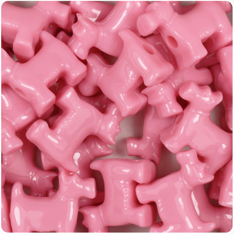 Baby Pink Opaque 24mm Scotty Dog Pony Beads (24pcs)