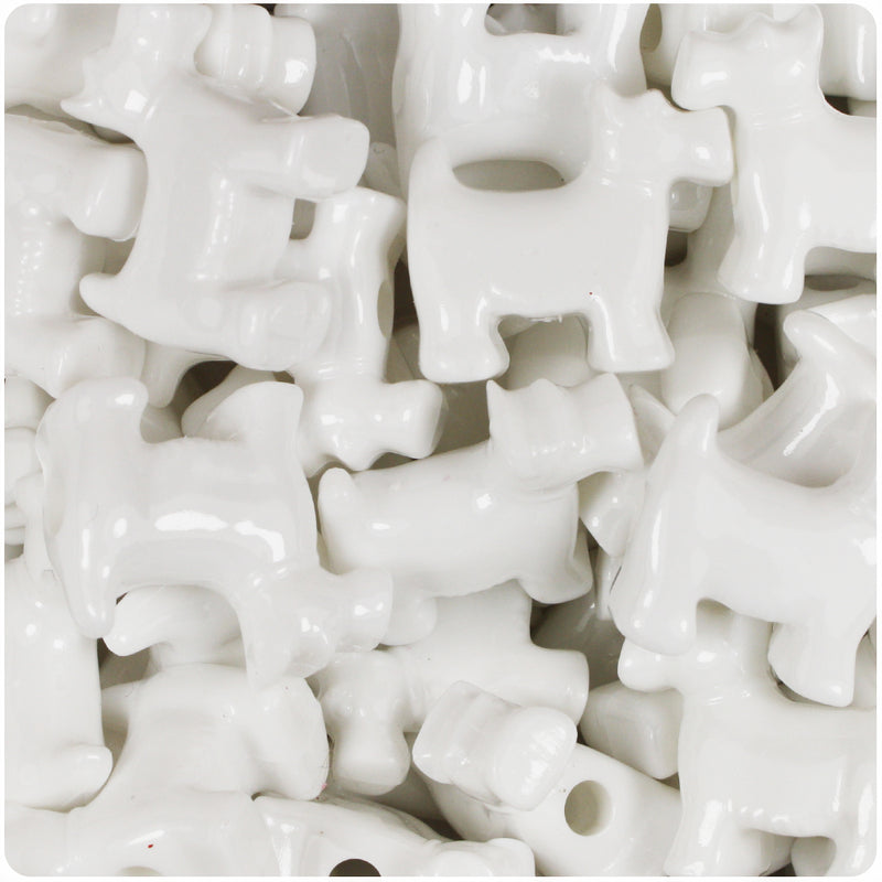 White Opaque 24mm Scotty Dog Pony Beads (24pcs)