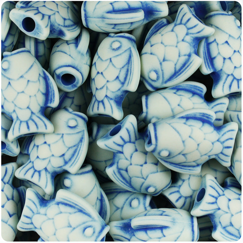 Ivory & Blue Antique 24mm Fish Pony Beads (24pcs)