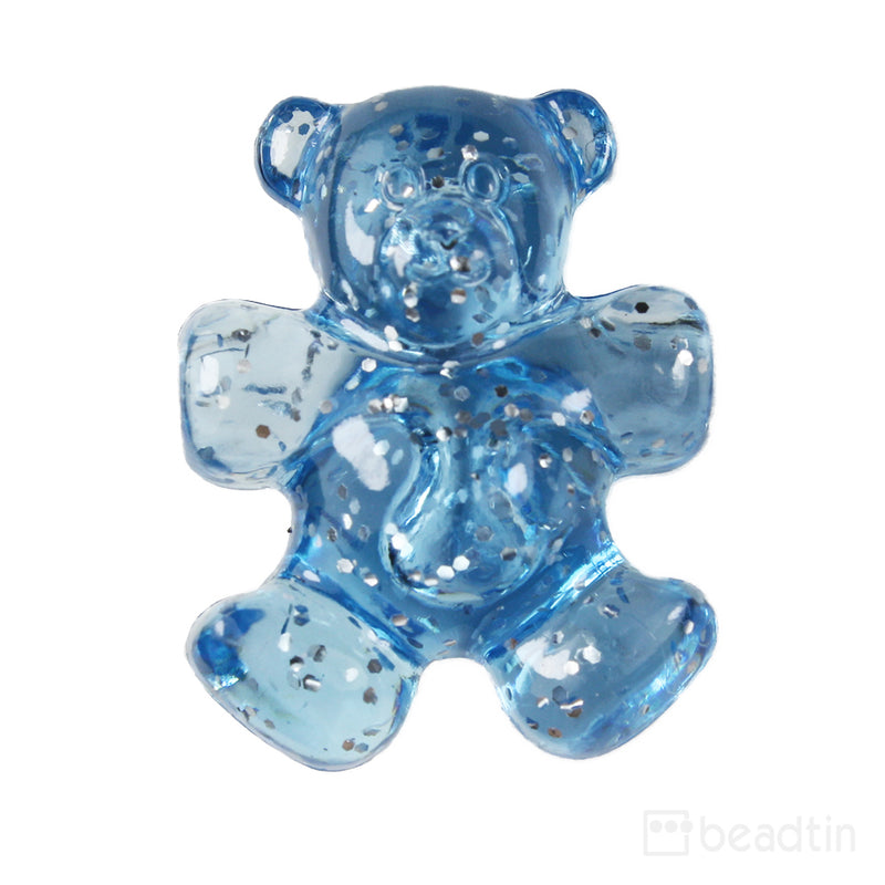 Light Sapphire Sparkle 25mm Teddy Bear Pony Beads (24pcs)