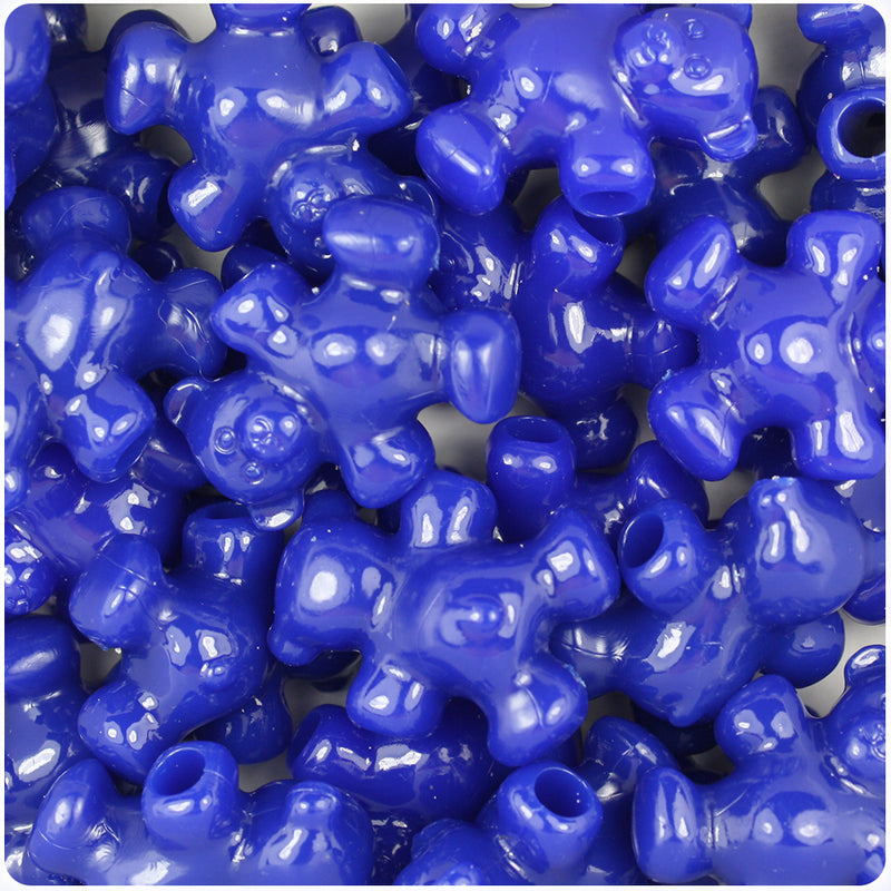 Royal Blue Opaque 25mm Teddy Bear Pony Beads (24pcs)