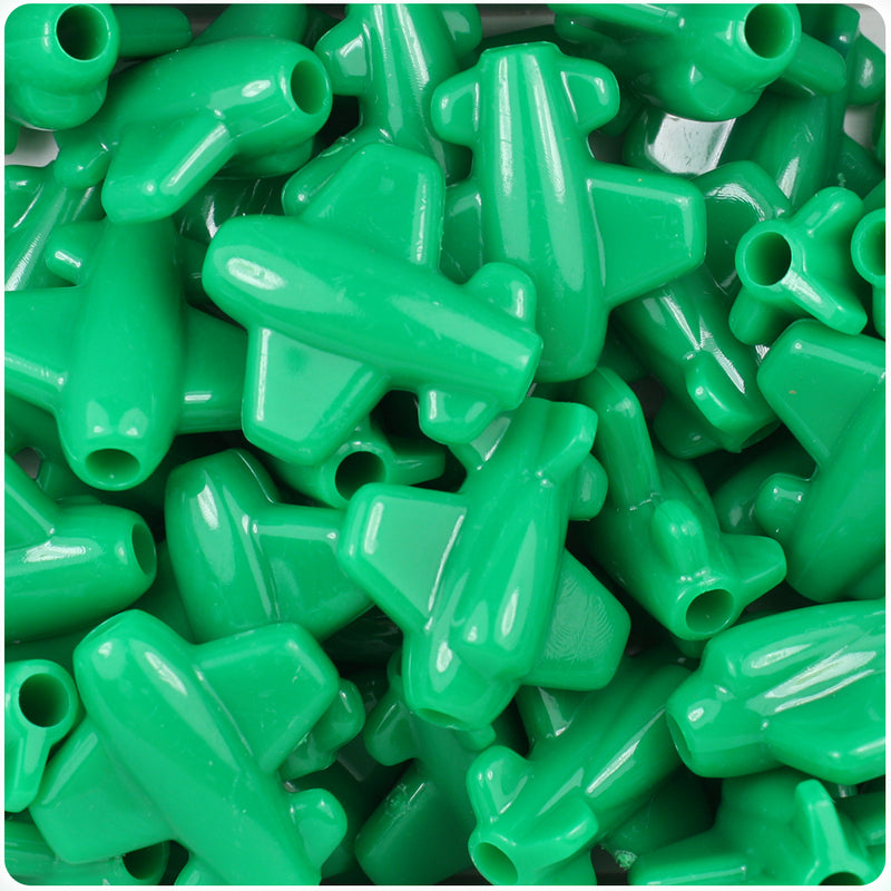 Green Opaque 25mm Airplane Pony Beads (24pcs)