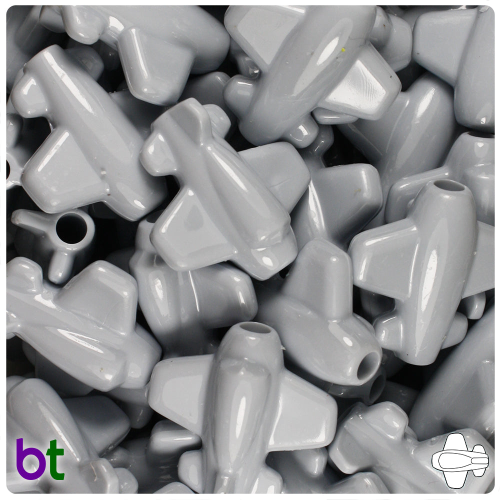 Grey Opaque 25mm Airplane Pony Beads (24pcs)