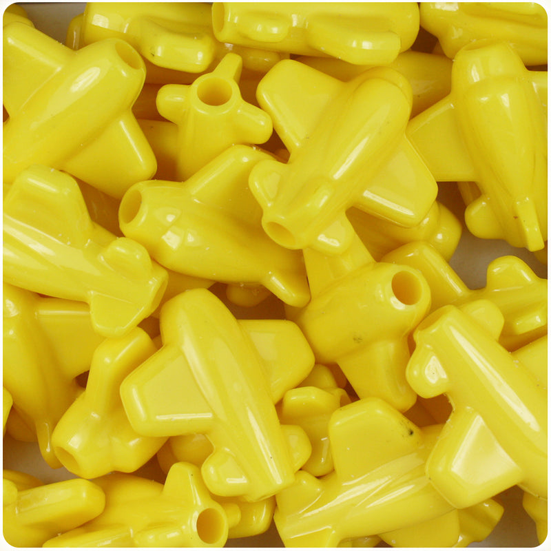 Yellow Opaque 25mm AirPlane Pony Beads (24pcs)