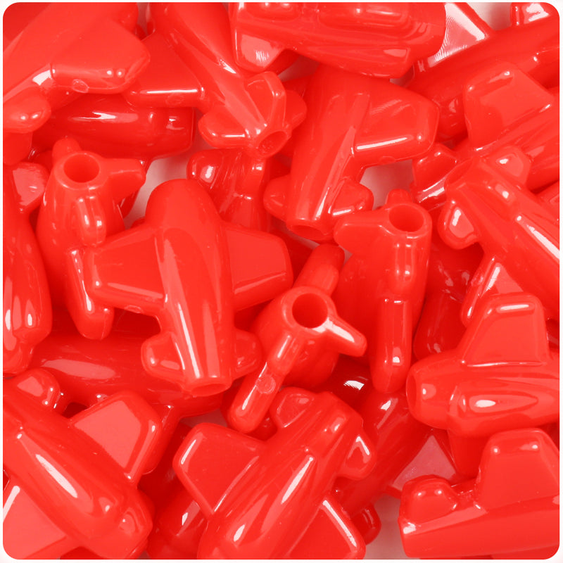 Bright Red Opaque 25mm Airplane Pony Beads (24pcs)