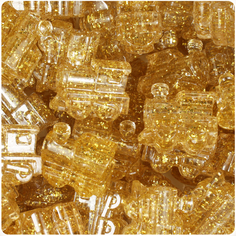 Gold Sparkle 22mm Train Pony Beads (24pcs)