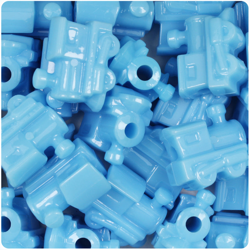 Baby Blue Opaque 22mm Train Pony Beads (24pcs)