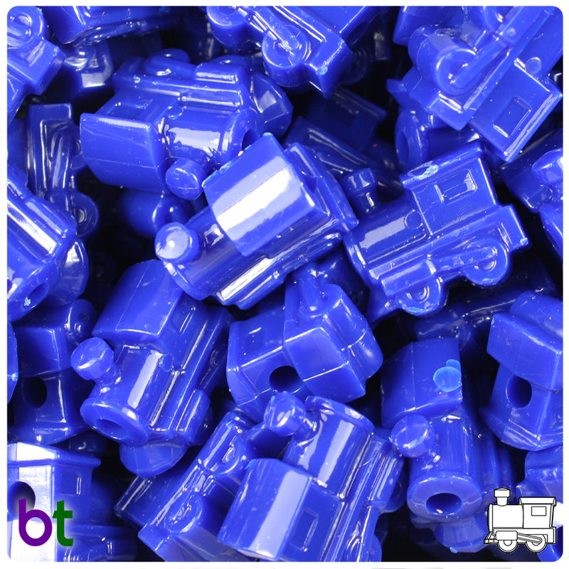 Royal Blue Opaque 22mm Train Pony Beads (24pcs)