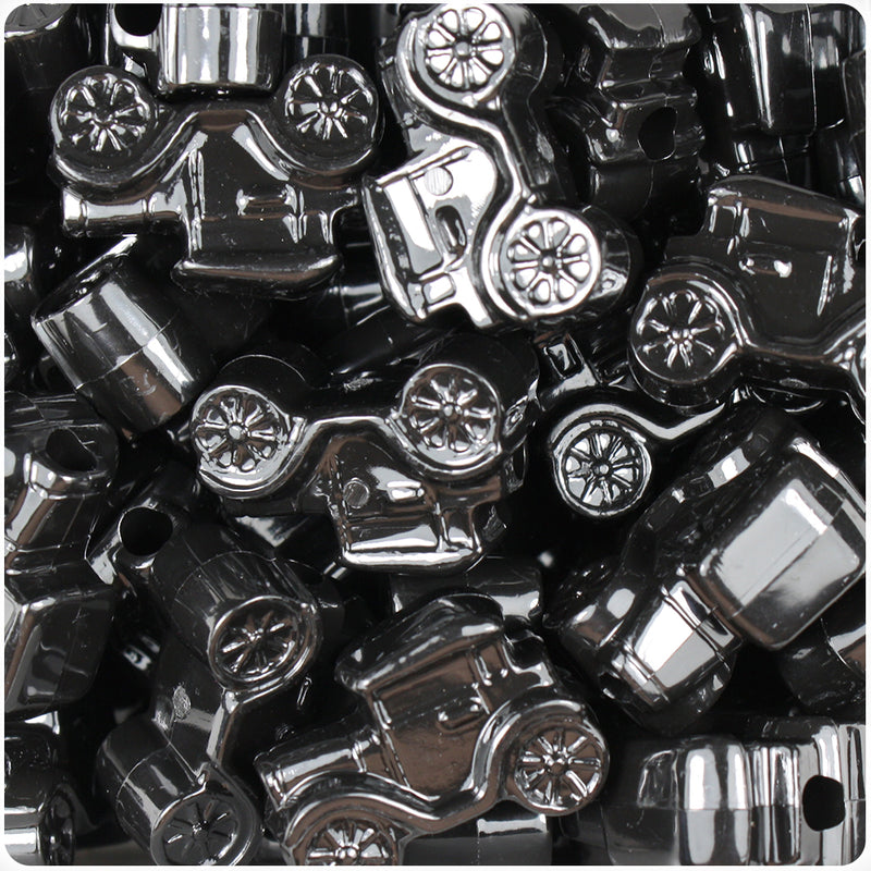 Black Opaque 25mm Car Pony Beads (24pcs)