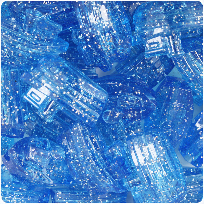 Light Sapphire Sparkle 25mm Boat Pony Beads (24pcs)