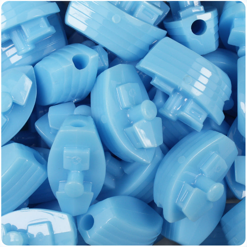 Baby Blue Opaque 25mm Boat Pony Beads (24pcs)