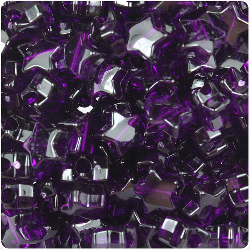 Dark Amethyst Transparent 13mm Star Pony Beads (250pcs)