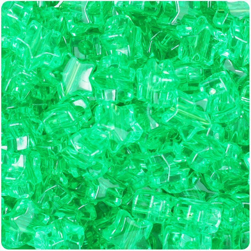 Mint Transparent 13mm Star Pony Beads (250pcs)