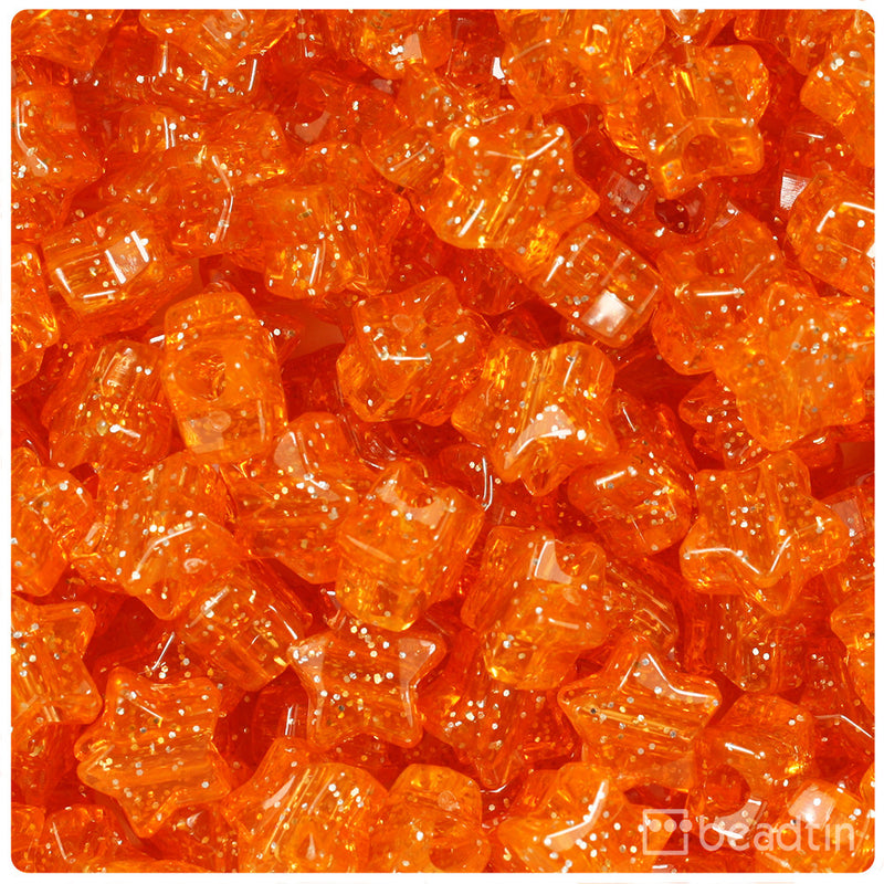 Orange Sparkle 13mm Star Pony Beads (250pcs)
