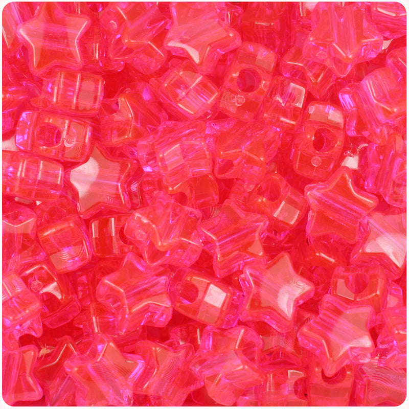 Hot Pink Transparent 13mm Star Pony Beads (250pcs)